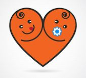 Vector image of smiling  baby boy and girl arranged as heart