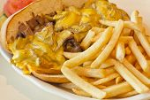 picture of cheesesteak  - A messy Philly Cheesesteak with onions and peppers with fries on the side - JPG