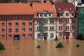 USTI NAD LABEM, CZECH REPUBLIC - JUNE 5, 2013: Dwelling buildings flooded by the swollen Elbe River in Usti nad Labem, Northern Bohemia, Czech Republic, on June 5, 2013.