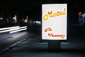 Motel city-light with text No Vacancy