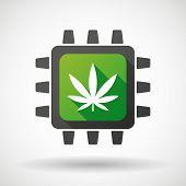 Cpu Icon With A Marijuana Leaf