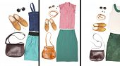Outfits of woman clothes and accessories in collage