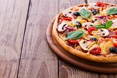 image of hot fresh pizza  - Delicious fresh pizza with seafood - JPG
