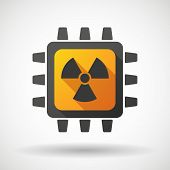picture of radioactive  - Illustration of a CPU icon with a radioactivity sign - JPG
