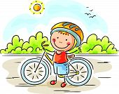 Little boy and bike