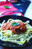 Tagliatelle homemade with bolognese sauce