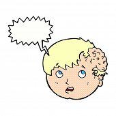 image of ugly  - cartoon boy with ugly growth on head with speech bubble - JPG