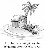 picture of deserted island  - Cartoon of car on deserted island - JPG