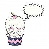 spooky skull cupcake cartoon with speech bubble
