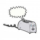 cartoon toaster with speech bubble