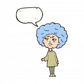 cartoon old lady with speech bubble