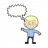 cartoon dad waving with speech bubble