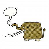 cartoon woolly mammoth with speech bubble