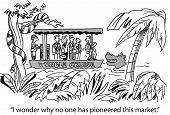 stock photo of jungle snake  - Cartoon of businesspeople exploring jungle marketing with snakes and crocodiles - JPG