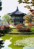 image of seoul south korea  - Famous pagoda and lake in the gardens of Gyeongbok Palace in Seoul South Korea - JPG