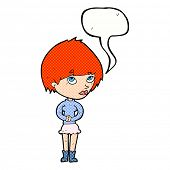 cartoon nervous woman with speech bubble