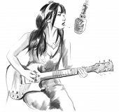 Smoking, Guitar Player. An Hand Drawn Full Sized Illustration.