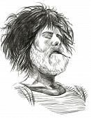 Smoking, Bearded Smoker - Hand Drawn Full Sized Illustration.