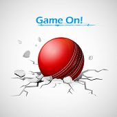 illustration of cricket ball falling on ground making crack