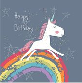 pic of pegasus  - happy birthday card with unicorn - JPG