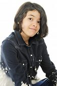 Close-up image of a casual young teen.  On a white background.