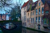 Bruges' canal  in the evening, Belgium. Toned image