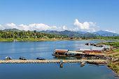 Bamboo Bridge And Houseboat