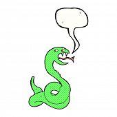 cartoon hissing snake with speech bubble