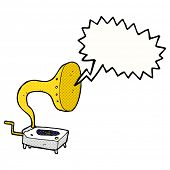 cartoon gramophone with speech bubble