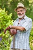 Portrait of a smiling senior with a spade in the garden