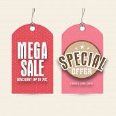 Sale and discount offer tags for International Women's Day celebration.