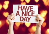 Have a Nice Day card with heart bokeh background