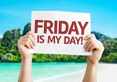 stock photo of friday  - Friday Is My Day card with beach background - JPG