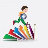 schoolboy runs in the books, vector illustration