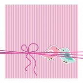 Pink and blue birdies are represented on the striped background. Flat image of vector