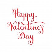 Happy Valentine's Day hand lettering. Vector illustration