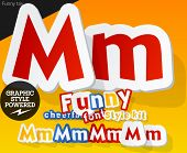 Vector font in shape of funny toys or cartoon elements. Letter M