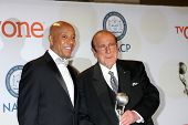 LOS ANGELES - FEB 6:  Russell Simmons, Clive Davis at the 46th NAACP Image Awards Press Room at a Pasadena Convention Center on February 6, 2015 in Pasadena, CA