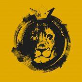lion head. hand drawn. Grunge vector illustration
