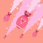 image of nuclear bomb  - Flat design of love bombs falling form sky illustration vector - JPG