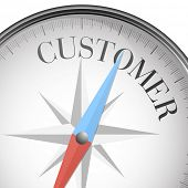 detailed illustration of a compass with customer text, eps10 vector