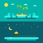 Flat Design Of Summer Paradise Beach