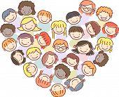 Stickman Illustration of Kids Huddled in a Heart Shaped Pattern