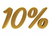 Gold ten percent off. Discount 10. 3D illustration