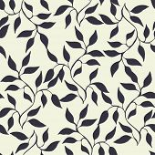 Abstract seamless pattern with branches and leaves, vector illustration