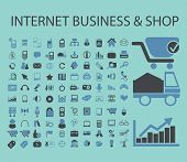 internet business, shop, eCommerce icons, signs, illustrations set, vector