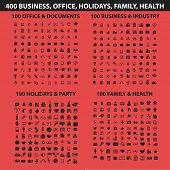 400 business, holidays, health, travel, family, office, document, management, media, computer, website, web, internet flat icons, signs, illustrations design concept vector set