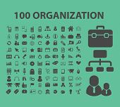 100 organization, human resources, management icons, signs, illustrations set, vector