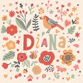 Bright card with beautiful name Diana in poppy flowers, bees and butterflies. Awesome female name design in bright colors. Tremendous vector background for fabulous designs