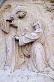 GRAZ, AUSTRIA - JANUARY 10, 2015: War Memorial, bas relief on Graz Cathedral dedicated to Saint Giles in Graz, Styria, Austria on January 10, 2015.